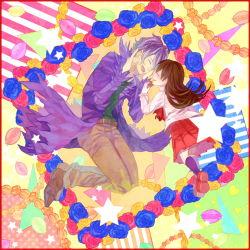 1boy 1girl brown_hair eyes_closed flower garry_(ib) highres ib ib_(ib) macaron purple_hair rose yahhoho