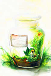 bottle in_bottle in_container jar no_humans plant pokemon pokemon_(creature) snivy solo traditional_media wanwannyaaaura
