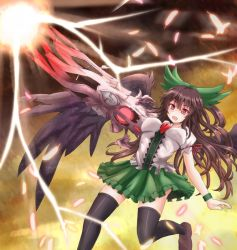 1girl arm_cannon black_legwear brown_hair feathers female hair_ribbon long_hair open_mouth red_eyes reiuji_utsuho ribbon skirt solo sumapan thighhighs third_eye touhou trigun weapon wings wristband