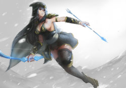 1girl arrow ashe_(league_of_legends) black_clothes black_legwear blue_eyes bow_(weapon) breasts cape cleavage curvy dress hood large_breasts league_of_legends lips long_hair open_mouth short_dress short_hair sideboob silver_hair sky_of_morika snowing solo spaulders thick_thighs thighhighs weapon white_hair wide_hips zettai_ryouiki