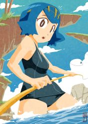 1girl :o bangs bare_arms bare_shoulders black_eyes black_swimsuit blue_hair blue_sky breasts bright_pupils chawalit_adsawawalanon cliff cloud day eyebrows_visible_through_hair eyelashes fishing_rod grass hairband highres holding medium_breasts one-piece_swimsuit open_mouth outdoors palm_tree pokemon pokemon_(game) pokemon_sm school_swimsuit short_hair sky solo standing suiren_(pokemon) swimsuit teeth tree trial_captain wading water