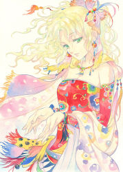 1girl agahari blonde_hair cape earrings final_fantasy final_fantasy_vi green_eyes highres jewelry long_hair ponytail tina_branford traditional_media