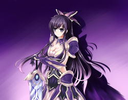 1girl armor cleavage closed_mouth date_a_live expressionless female gloves gradient_background hair_ornament long_hair looking_at_viewer ponytail purple_eyes purple_hair solo sword weapon wsman yatogami_tooka
