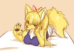 artist_request blonde_hair fox furry ponytail red_eyes smile