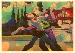 1boy blonde_hair blue_eyes border cloud dancing disembodied_limb formal green_sky haruto1192 highres house jojo_no_kimyou_na_bouken killer_queen kira_yoshikage male_focus nail_polish necktie red_nails rock smile stand_(jojo) suit tree