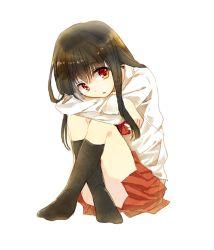 1girl black_hair ib ib_(ib) kneehighs knees_to_chest long_hair no_shoes red_eyes sitting solo white_background yuuai