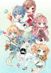/\/\/\ 2boys 4girls :> :/ :d ahoge aqua_eyes aqua_hair aqua_necktie aqua_shorts bangs belt black_dress blonde_hair blue_hair blue_scarf blush brother_and_sister brown_eyes brown_hair butterfly_on_hand dress flower flower_necklace food glass gradient gradient_background hair_between_eyes hair_flower hair_ornament hair_ribbon hairclip halterneck hat hatsune_miku highres holding holding_flower holding_food holding_glass holding_spoon hose ice_cream_cone jewelry kagamine_len kagamine_rin kaito megurine_luka meiko miniboy minigirl multiple_boys multiple_girls necklace necktie niwako number off-shoulder_dress off_shoulder open_mouth outline piano_print pink_hair plant puffy_shorts red_dress ribbon sailor_collar sailor_hat sandals scarf shirt short_hair short_necktie short_sleeves shorts siblings sleeveless sleeveless_dress sleeveless_shirt smile sunflower sweat swept_bangs twins twintails vines vocaloid water watering_can white_dress white_ribbon white_shirt wrist_cuffs