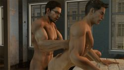 2boys 3d abs age_difference anal animated animated_gif ass bara erection glasses multiple_boys muscle pecs penetration penis resident_evil sex source_filmmaker thrusting wince yaoi