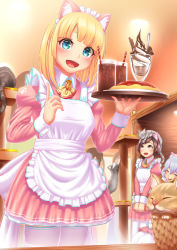 :d animal animal_on_head apron bangs blonde_hair blue_eyes blue_hair blunt_bangs blush brown_eyes brown_hair cat cat_on_head drink drinking_straw eyes_closed food frills highres ice_cream looking_at_viewer looking_up maid maid_cafe moe2016 notori_d omurice open_mouth pantyhose scratching smile solo_focus thighhighs tray v_arms white_legwear