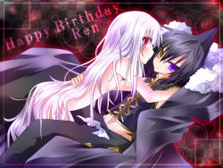 1boy 1girl all_fours bad_id black_hair happy_birthday heterochromia iron_maiden_jeanne long_hair lying nemokochi nude on_back purple_eyes red_eyes shaman_king silver_hair tao_ren very_long_hair yellow_eyes