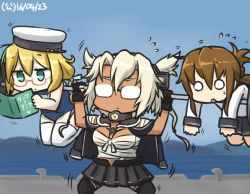 3girls black_legwear book budget_sarashi comic commentary dark_skin dated day flying_sweatdrops folded_ponytail glasses gloves hamu_koutarou hat headgear i-8_(kantai_collection) inazuma_(kantai_collection) kantai_collection multiple_girls musashi_(kantai_collection) o_o ocean opaque_glasses pier pointy_hair reading red-framed_eyewear red-framed_glasses sailor_hat sarashi school_swimsuit school_uniform serafuku swimsuit thighhighs two_side_up weightlifting white_legwear