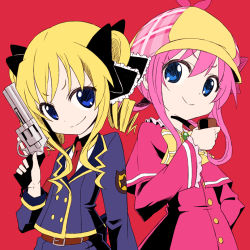 2girls akechi_kokoro blonde_hair blue_eyes d_g_s gun hair_ornament hat multiple_girls necktie pink_hair pipe revolver sherlock_shellingford short_hair simple_background smile tantei_opera_milky_holmes twintails uniform weapon