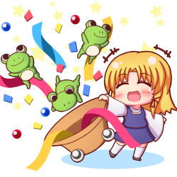 +++ 1girl :d ^_^ blonde_hair blush chibi commentary commentary_request confetti eyebrows eyebrows_visible_through_hair eyes_closed frog grouse01 hat moriya_suwako open_mouth purple_shirt purple_skirt pyonta shirt sidelocks skirt smile star touhou white_background white_legwear wide_sleeves