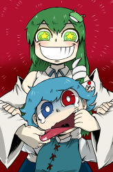 2girls blue_hair detached_sleeves eyebrows eyebrows_visible_through_hair frog frog_hair_ornament green_eyes green_hair grin hair_ornament hand_in_mouth heterochromia highres kochiya_sanae long_hair multiple_girls nicetack red_eyes shaded_face smile snake snake_hair_ornament star star-shaped_pupils symbol-shaped_pupils tatara_kogasa tearing_up tongue tongue_grab tongue_out touhou