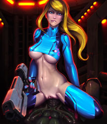 1girl blonde_hair blue_eyes clothed_sex erect_nipples forced gun lip_biting looking_at_viewer metroid mister-mediocre navel nintendo pussy samus_aran sex stomach uncensored underboob vaginal zero_suit