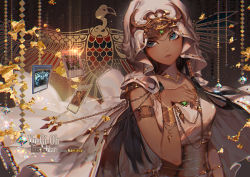 1girl arm_at_side armlet artist_name bangle beads bird black_hair blue_eyes blurry bracelet breasts card character_name closed_mouth copyright_name dark_skin diamond_(shape) eagle egyptian forehead_jewel gem glint hair_tubes hand_on_own_chest headgear ishizu_ishtar jewelry kawacy long_hair necklace side_glance sidelocks solo upper_body veil very_long_hair watermark yu-gi-oh! yuu-gi-ou_duel_monsters