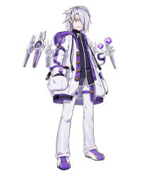 1boy add_(elsword) coat elsword grey_hair hair_over_one_eye hand_in_pocket hwansang male_focus official_art pants purple_eyes shirt shoes smile solo standing white_background wide-eyed