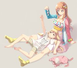2girls :3 arm_support barefoot bike_shorts blonde_hair breasts brown_eyes brown_hair candy cleavage clothes_writing collarbone dress feet full_body futaba_anzu grey_background hair_ornament holding idolmaster idolmaster_cinderella_girls jewelry long_hair low_twintails lying moroboshi_kirari multiple_girls necklace no_shoes on_back orange_hair outstretched_arm reaching_out shirt shorts sitting sleeves_past_wrists socks star_hair_ornament striped striped_shorts stuffed_animal stuffed_bunny stuffed_toy t-shirt translation_request twintails u_(kuroinu0107) very_long_hair white_shirt yellow_legwear