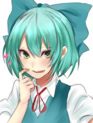 1girl aqua_hair blue_bow blue_dress blush bow cirno dress fang green_eyes hair_bow heart looking_at_viewer neck_ribbon onineko-chan parted_lips puffy_short_sleeves puffy_sleeves red_ribbon ribbon scratching_cheek short_hair short_sleeves smile solo touhou upper_body white_background