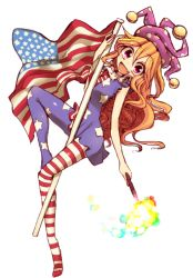 1girl american_flag american_flag_legwear american_flag_shirt blonde_hair clownpiece fang flag full_body hat jester_cap kuresento looking_at_viewer open_mouth pantyhose print_legwear red_eyes simple_background sleeveless smile solo star striped touhou white_background