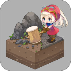 1girl blonde_hair blue_eyes boots chibi dragon_quest_builders goggles goggles_on_head grass grey_background hammer hat heroine_(dqb) open_mouth ponytail puti_devil rock solo
