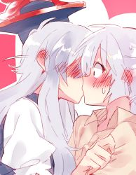 2girls blush fujiwara_no_mokou hat kamishirasawa_keine kiss multiple_girls shirt shocked_eyes silver_hair yuri