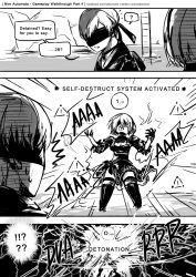 !? 1boy 1girl android blindfold breasts cleavage cleavage_cutout comic dress english exploding explosion gloves highres juliet_sleeves long_sleeves nier_(series) nier_automata open_mouth puffy_sleeves sakon04 short_hair speech_bubble talking text yorha_no._2_type_b yorha_no._9_type_s