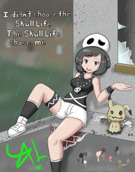 1girl alternate_costume beanie black_hair breasts broken_glass english female_protagonist_(pokemon_sm) full_body half-closed_eyes highres legs mimikyu necklace open_mouth outdoors pokemon pokemon_(game) pokemon_sm rain shoes short_hair shorts sitting solo tank_top team_skull team_skull_(cosplay) text thigh_strap wristband