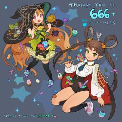 2girls 666 :o acorn animal_on_head bangs bat_wings black_legwear borrowed_character bow braid breast_pocket brown_hair candy candy_bar cape cat cat_on_head chocolate_bar collared_shirt commentary cookie cupcake earrings english food green_eyes hair_ornament hair_rings halloween jack-o'-lantern jack-o'-lantern_hair_ornament jewelry kneeling lollipop long_hair long_sleeves looking_at_viewer mouse multiple_girls necktie original pink_eyes pointy_ears pumpkin_hair_ornament shirt shoes silk skirt skull smile sneakers socks spider spider_web thank_you thighhighs twig twin_braids very_long_hair wings witch yoyo_(harapeko)