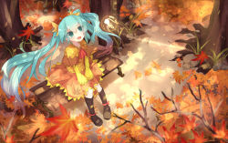 1girl aqua_eyes aqua_hair autumn bai_yemeng bench boots dress fairy floating_hair hatsune_miku highres knee_boots leaf long_hair open_mouth sitting tree twintails very_long_hair vocaloid