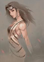 1girl bandage bare_shoulders black_hair fishnets grey_background mike_nesbitt naruto solo yuuhi_kurenai