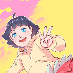 1girl bangs blue_eyes blue_hair looking_at_viewer multicolored multicolored_background naruto risuo shirt short_hair skirt smile solo uzumaki_himawari