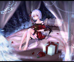 1girl alternate_costume bat_wings bed bed_sheet bedroom camisole canopy_bed chikawa_shibainu christmas colored_eyelashes eyes_visible_through_hair hair_between_eyes hair_ribbon highres lavender_hair letterboxed lingerie looking_at_viewer object_hug off_shoulder pointy_ears red_eyes remilia_scarlet ribbon short_hair sitting solo stuffed_animal stuffed_toy teddy_bear thighs touhou underwear wings