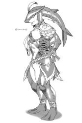1boy anklet biceps bracer epaulettes feathers fingernails fins full_body gills greyscale jewelry looking_at_viewer male_focus monochrome monster_boy muscle navel pectorals sash sharp_fingernails sidon simple_background smile solo the_legend_of_zelda the_legend_of_zelda:_breath_of_the_wild thighs twitter_username white_background zerusagi zora