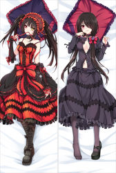 1girl bakugadou bangs bare_shoulders bed_sheet black_boots black_hair black_shirt black_shoes black_skirt blush boots bow breasts buttons closed_mouth collar collarbone corset dakimakura date_a_live detached_sleeves dress flower frilled_bow frilled_dress frilled_pillow frilled_shirt frilled_skirt frilled_sleeves frills full_body hair_bow hair_flower hair_ornament hair_over_one_eye hair_over_shoulder hairband hand_up heterochromia lolita_hairband long_hair long_sleeves looking_at_viewer lying medium_breasts mouth_hold multiple_views navel no_bra on_back one_eye_covered pillow purple_legwear red_bow red_eyes red_ribbon ribbon ribbon-trimmed_sleeves ribbon_trim shirt shoes single_shoe skirt smile thighhighs tokisaki_kurumi twintails unbuttoned yellow_eyes