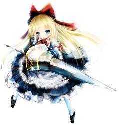 1girl basilis9 blonde_hair blue_eyes bow doll dress hair_bow lance long_hair polearm ribbon shanghai_doll solo touhou weapon