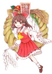 1girl bow brown brown_hair brown_shoes detached_sleeves dress flower full_body hair_bow hakurei_reimu highres kurumikko marker_(medium) mary_janes open_mouth red_dress rope shimenawa shoes sidelocks socks solo touhou traditional_media wheat white_legwear wide_sleeves
