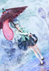 absurdres artist_name blue_hair dyolf heterochromia highres karakasa_obake rain short_hair tatara_kogasa touhou umbrella