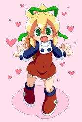 1girl blush blush_stickers boots capcom catting child dress full_body green_eyes green_ribbon hair_ornament hair_ribbon heart long_ponytail long_sleeves looking_at_viewer open_mouth ponytail red_dress ribbon rockman rockman_(classic) roll shoes simple_background solo