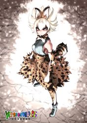 1girl alternate_eye_color alternate_hair_color animal_ears animal_print bare_shoulders blonde_hair blue_eyes commentary_request copyright_name dragon_ball elbow_gloves full_body gloves kemono_friends looking_at_viewer parody serval_(kemono_friends) serval_ears serval_print serval_tail shirt short_hair skirt sleeveless sleeveless_shirt solo souryu standing tagme tail thighhighs white_shirt