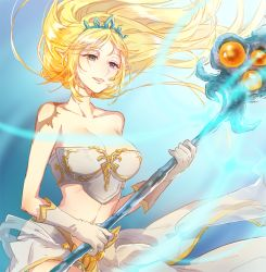 1girl bangs blonde_hair blue_eyes breasts es_(esscarlet) floating_hair janna_windforce large_breasts league_of_legends long_hair midriff off_shoulder parted_bangs pointy_ears solo staff