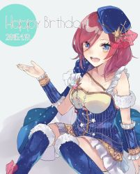 1girl blue_eyes breasts cape cleavage dated detached_sleeves dress happy_birthday hat jewelry kneehighs love_live!_school_idol_project nishikino_maki open_mouth red_hair short_hair sitting solo star_print ultone_(neisiss)