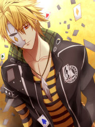 1boy amnesia_(idea_factory) berta_(artist) blonde_hair brown_eyes card expressionless feathers jacket jewelry male mask necklace playing_card shirt solo striped striped_shirt toma_(amnesia) yellow_background