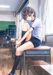 1girl bangs black_hair blue_reflection brown_eyes chair classroom desk gym_shorts gym_uniform indoors kishida_mel looking_at_viewer official_art one_leg_raised school_desk shirai_hinako shoes short_hair short_sleeves shorts sitting socks solo sportswear window