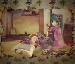 1girl aqua_eyes aqua_hair aronia border hatsune_miku holding horse indoors japanese_clothes kimono lips looking_at_viewer muted_color pale_skin sitting solo string tabi tatami top toy twintails vocaloid yukata