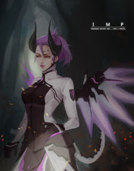 1girl absurdres alternate_costume bodysuit breasts cowboy_shot dark_persona demon_horns eig embers emblem english facial_mark faulds forehead_mark grey_background hair_between_eyes highres horns imp_mercy light_smile lips lipstick looking_away makeup mechanical_wings mercy_(overwatch) nose overwatch patch ponytail purple_eyes purple_hair purple_wings small_breasts solo wings