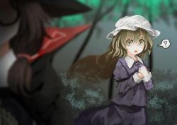 2girls ? akaiha_(akaihagusk) blonde_hair blurry brown_hair cape clothes_writing depth_of_field dress glasses hat long_hair low_twintails maribel_hearn multiple_girls open_mouth red-framed_glasses short_hair spoken_question_mark touhou twintails usami_sumireko yellow_eyes