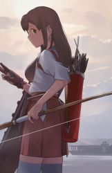 1girl akagi_(kantai_collection) archery bow_(weapon) brown_eyes brown_hair brown_skirt day grey_legwear holding holding_bow_(weapon) holding_weapon kantai_collection kyuudou looking_back makio_(makiomeigenbot) muneate outdoors profile quiver single_glove skirt solo standing thighhighs weapon yugake