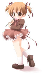 1girl brown_eyes brown_hair flower footwear hinako hinako_(sister_princess) kagura_yuuki mary_janes ribbon shoes short_twintails sister_princess socks solo twintails