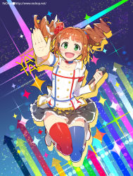 1girl :d artist_name blue_legwear blush brown_hair character_name choker copyright_name dress flower green_eyes hair_flower hair_ornament hair_ribbon high_five idol idolmaster idolmaster_movie long_hair microphone mismatched_legwear open_mouth outstretched_hand red_legwear redrop ribbon skirt smile solo sweat takatsuki_yayoi thighhighs twintails watermark web_address
